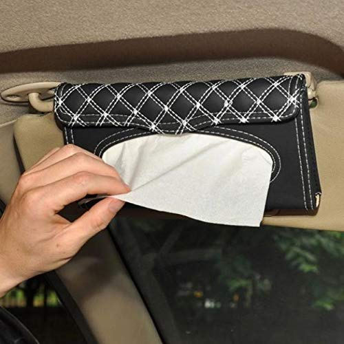 zzpopGG Car Sun Visor Paper Towel Storage Box,Stylish Car Sun Visor Mount Faux Leather Tissue Box Paper Napkin Case Holder - red line