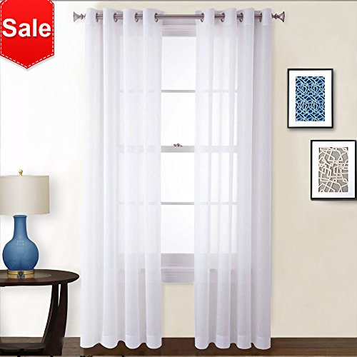 Crushed Sheer 84 Inch Curtain - NICETOWN Sheer Curtains 84 inches Long - Crushed Sheer Window Treatment Voile Drape Panels With Grommet Top for Sliding Glass Door (2-Pack, 52 Wide x 84 inch Long, White)