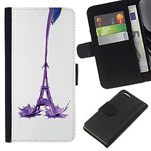 A-type (Torre Eiffel Leche Resumen) Colorida Impresión Funda Cuero Monedero Caja Bolsa Cubierta Caja Piel Card Slots Para Apple iPhone 5C