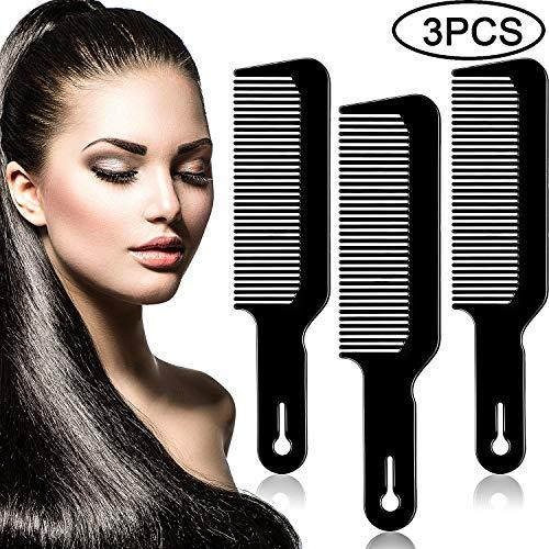 3 Pack Barber Combs Clipper Comb Flat Top Clipper Comb Hair Cutting Combs Great for Clipper-cuts and Flattops (Black)