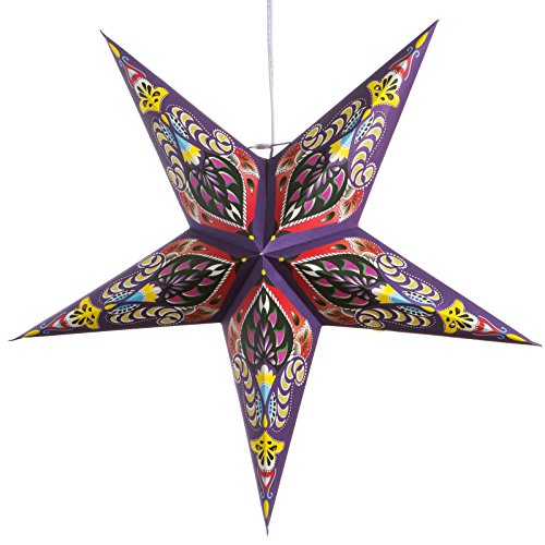 Ganasha-Purple-Paper-Star-Lantern-with-12-Foot-Power-Cord-Included