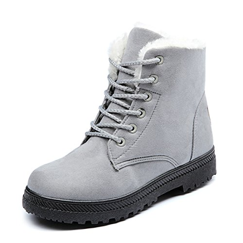Susanny Suede Flat Platform Sneaker Shoes Plus Velvet Winter Women's Lace Up Grey Cotton Snow Boots 4 B (M) US