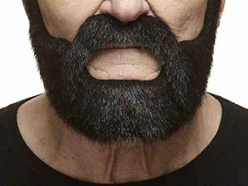 Mustaches Self Adhesive, Novelty, Nobleman Fake Beard and Fake Mustache, False Facial Hair, Costume Accessory for Adults, Black Lustrous Color -