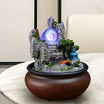 Statues Tabletop Fountain,Tabletop Decorative Water Fountain Living Room Water Decoration Resin Ornaments to Recruit feng Shui Wheel Household Decorations Business Gifts-A 7.9inch
