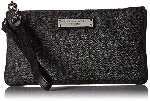 (Michael Kors Jet Set Signature Travel Wristlet, Black)