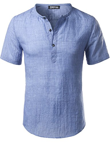 Mens Casual Big Plaid Henley Short Sleeve Linen T Shirt Tops Z17-Light Blue XXX-Large (Shirt Plaid Linen)