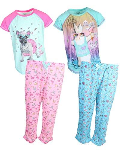 Rene Rofe Girl's 4-Piece Spring T-Shirt Capri Pants Pajama Set (2 Full Sets) French Bulldog/RABIT, Medium/7-8 by Rene Rofe