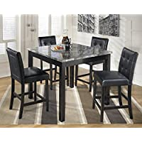 Marysvies Contemporary Black Color Faux marble Square Counter Set, Table And 4 Chairs