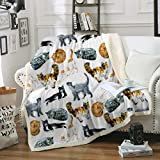 Sleepwish Cat Fleece Throw Blanket Hipster Cats Pattern Sherpa Plush Throw Blanket for Couch Bed Kids Girls Vintage Animal Blanket (50' x 60')