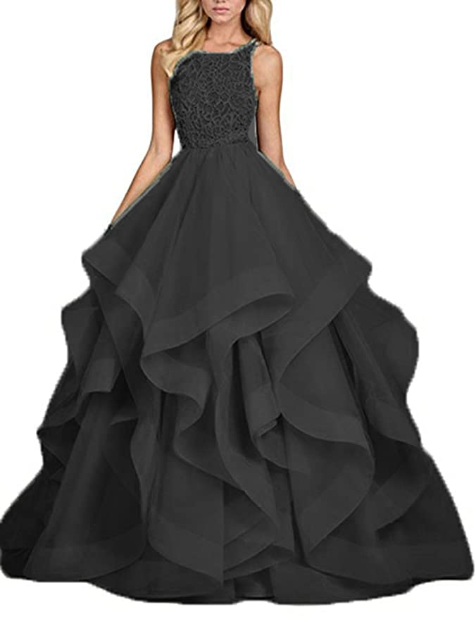 b114e049efe ... Gowns at Amazon Womens Clothing store  Amazon.com  BessDress Beaded Prom  Dresses Ball Gown Asymmetric Layers Long Formal Gown BD214