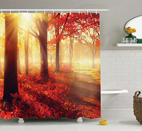 Woodland Decor Shower Curtain by Ambesonne, Sun seen through Misty Old Forest in Fall Season Morning View Dreamy Scenic Picture, Fabric Bathroom Set with Hooks, 75 Inches Long, Light Yellow Orange