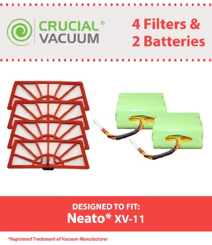 2 Neato Batteries & 4 XV-11 Air Filters; Fits XV-11, XV-12, XV-15, XV-21 All Floor Robotic Vacuum Cleaner System; Compare to Part #945-0005, 205-0001, 945-0006, 945-0024, 945-0004, 9450004, 945-0023 & 94500230; Designed & Engineered by Crucial Vacuum