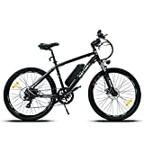 Mukkpet Rattan 26 350W inch Electric Mountain Bicycle 7 Speed E-Bike 36V 10.4Ah Removeable Lithium Battery IPAS Electric Bike Max 80 Miles Adult Assisted E-Bike