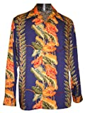 Kamehameha Mens Anthurium Panel Long Sleeve Shirt Navy Blue 2X