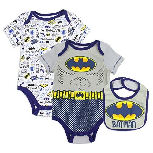 - Baby Infant Boys Superhero 2 Bodysuit Creepers and Bib 3-Piece Set (6-9 Months, Batman (Grey/Blue))