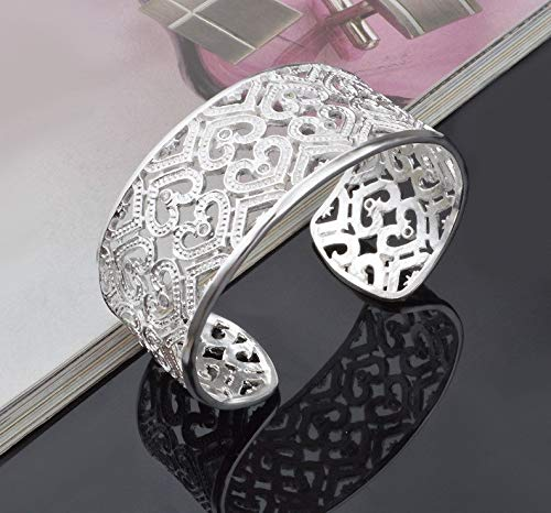 Nattaphol Silver 925 Cuff Bangle Bracelet for Women Luxury Jewelry Wide Crystal Heart Love Bangles Female Accessories Pulseira Gifts