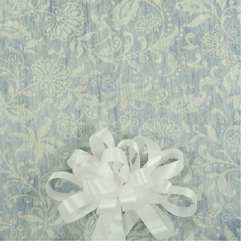 50' White Floral Lace Print Wedding Aisle Runner W/Tape&Rope ()