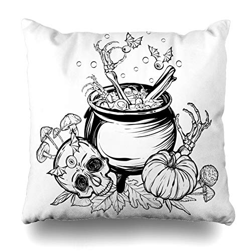 (LALILO Throw Pillow Covers Halloween Witch Skull Leaves Pumpkin Mushrooms White Tattoos Witch Double-Sided Pattern for Sofa Cushion Cover Couch Decoration Home Bed Pillowcase 18x18)