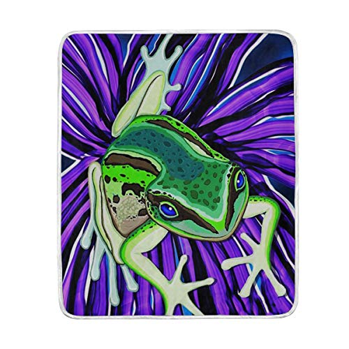 KEEPDIY Green Tree Frog On Purple Flower Blanket-Warm,Lightweight,Soft,Pet-Friendly,Throw for Home Bed,Sofa &Dorm 60 x 50 Inch
