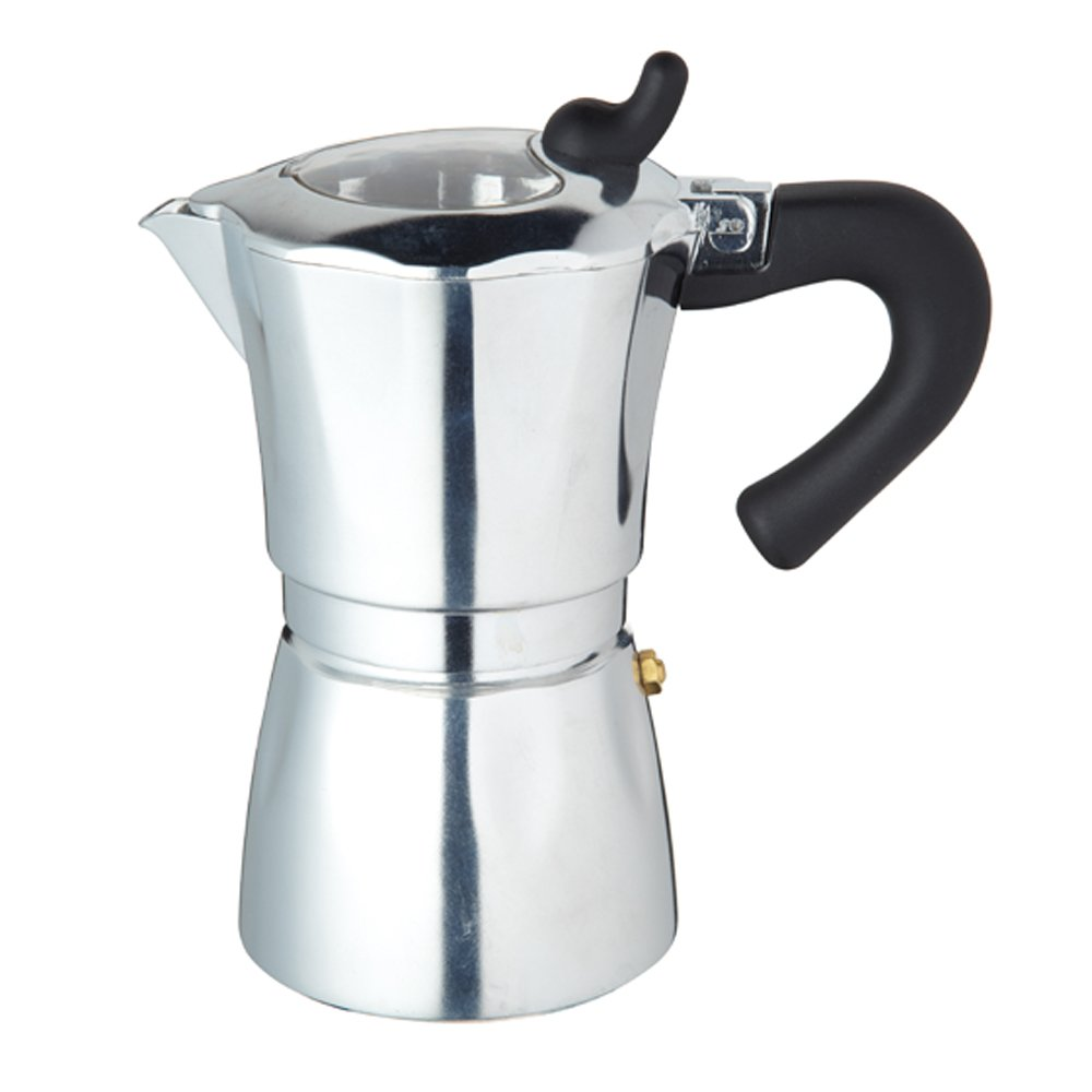 Kitchen Craft Italian Collection Espresso Coffee Maker Six Cup With Clear Lid, Cooking Marvellous ICESPCL6