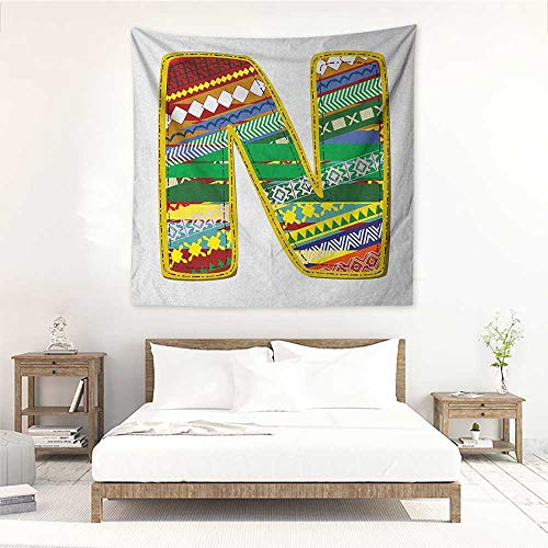 Letter N Square Tapestry for Living Room N Letter with Yellow Corners Hippie Primitive Culture Tribal Effect Models My Name Wall Hanging Carpet Throw 63W x 63L INCH Multicolor -