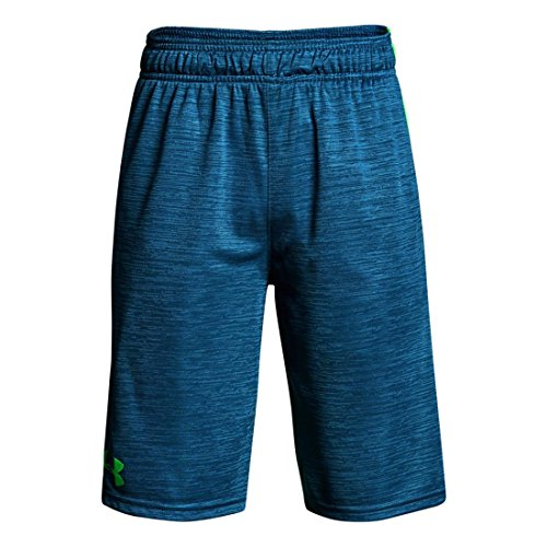 - Under Armour Boys Stunt Printed Short, Blue/Green/Blue, YXS