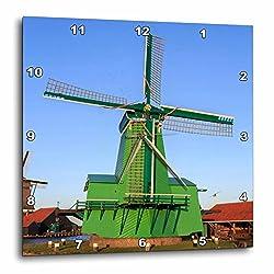 3dRose Danita Delimont - Windmills - Famous windmills of Zaanse Schans, Amsterdam, Holland - 13x13 Wall Clock (dpp_257781_2)