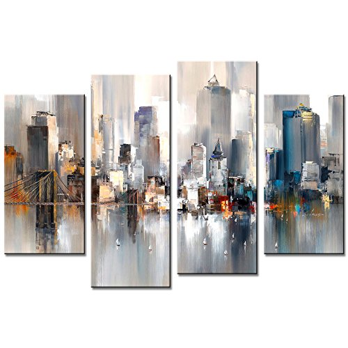 Abstract Canvas Painting New York Colorful City Landscape Picture Printed on Canvas Giclee Artwork Stretched and Framed Wall Art for Home Decor Ready to Hang (Abstract City 1)
