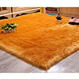 DUANG Faux Fur Sheepskin Rug Square Hair 5-6cm Area Rugs Soft and Silky Non Slip Mats for Bedroom Floor Sofa Chair Armchair Or Couch Washable,Orange-200×200cm/78.7'×78.7'