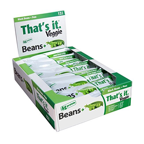 Black Bean + Peas That's It. Veggie Bars | Natural Great Tasting Healthy 100% Real Veggie Snack | 4g Protein, Vegan, Gluten Free, Paleo, Kosher, Non GMO, No Preservatives, 90 Calories | Pack of 12