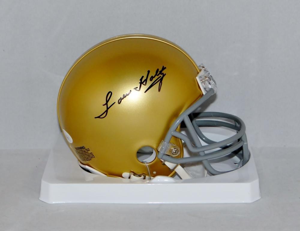Lou Holtz Autographed Notre Dame Fighting Irish Mini Helmet- JSA Witnessed Auth