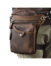 Vintage Leather Waist Pack Drop Leg Bag for Men Women Belt Bumbag Multi-Function Motorcycle Bike Outdoor Sports Tactical Cycling Riding Hiking Camping