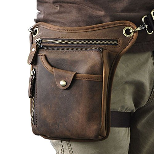 Hebetag Hiking Waist Pack Leather Drop Leg Bag for Men Women Multi-Purpose Motorcycle Bike Outdoor Travel Sports Tactical Riding Hiking Camping Belt Bum Pouch Small Shoulder Bag Deep Brown