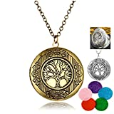 aroma 996 - JAJAFOOK Aromatherapy Essential Oil Diffuser Locket Pandent Necklaces Mixed Style Vintage Hollow Lotus- Perfume Jewelry 24