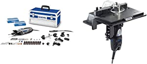 Dremel 4300-9/64 Rotary Tool Kit with Flex Shaft- 9 Attachments & 64 Accessories- Engraver, Router, Sander, and Polisher & 231 Portable Rotary Tool Shaper and Router Table- Woodworking Attachment