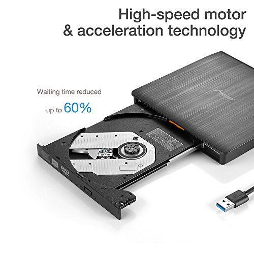 External DVD Drive, MAD GIGA USB 3.0 Transmission Slim Portable External DVD CD +/-RW Writer/Burner/Rewriter ROM Drive Perfect for Mac OS/Win7/Win8/Win10/Vista PC Desktop Laptop by MAD GIGA (Image #2)