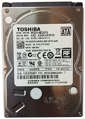 (TOSHIBA MQ01ABD075 750GB 5400 RPM 8MB Cache 2.5 9.5mm SATA 3.0Gb/s internal notebook hard drive - Bare)