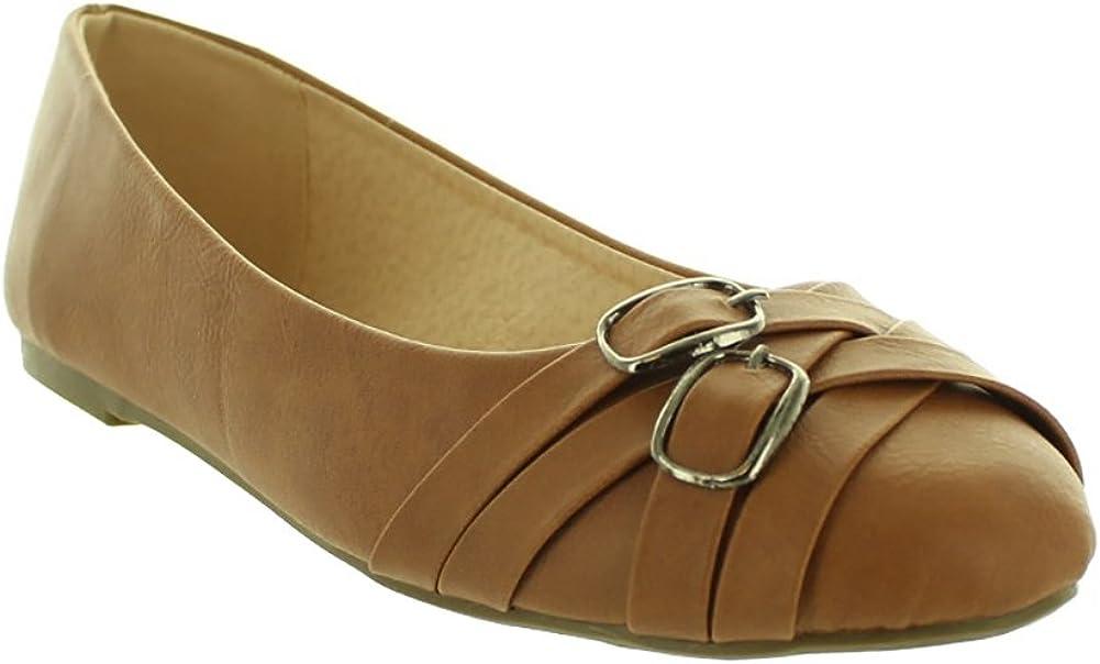 Fashion Focus LA FLY-2-CG Womens Fashion Designer Flats Slippers Slip-on in Cognac Brown