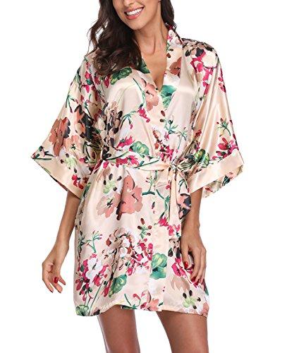 (Women's Satin Floral Kimono Robe Short Bridesmaid Bathrobe for Wedding Party,Apricot S)