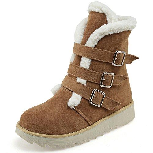 COOLCEPT Damen warme Wildleder kurze Plüsch Schneeschuhe Winter Knöchel Martin Stiefel mit Schnallenriemen Gelb