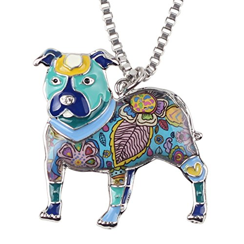 "- BONSNY Love Heart Enamel Zinc Alloy Metal Pit Bull Buster Dog Necklace Dog Animal Jewelry pendant Unique Design 18"" (Blue)"