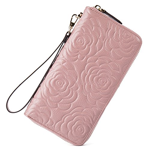 BOSTANTEN Wallets for Women Rfid Blocking Credit Card Holder Wristlet Leather Wallet Clutch Purse Taro Pink