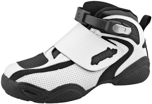 Speed and Strength Moment of Truth Men's Moto Leather Shoes (White, Size 9)