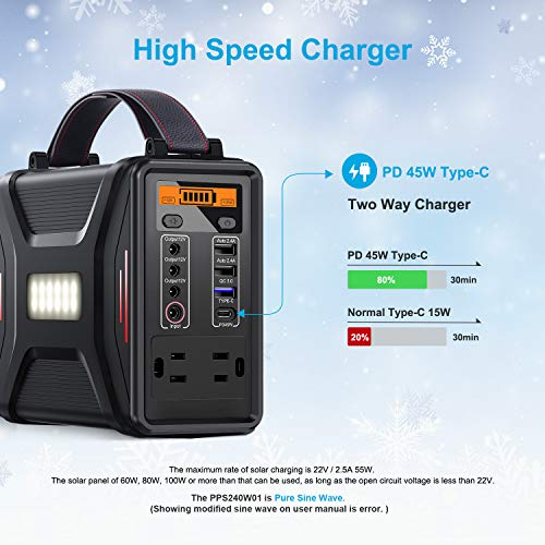 Energizer Portable Power Station PPS240W01, 240Wh Lithium Iron Phosphate Solar Generators for Camping Outdoor, Emergency…