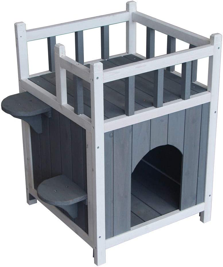 Bestdeal.shop Cat House Outdoor Shelter Pet Kitten Wooden Home Condo with Stair Balcony Shelter