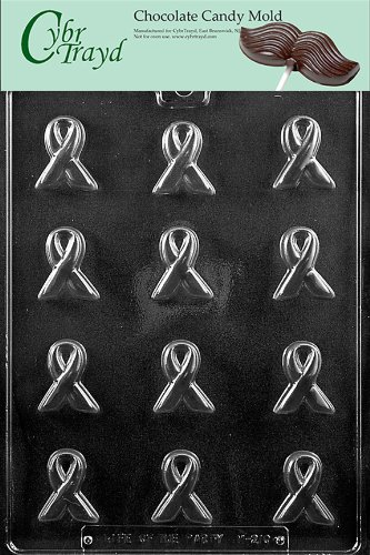 Cybrtrayd M210 Bite Size Awareness Ribbon Chocolate Candy Mold with Exclusive Cybrtrayd Copyrighted Chocolate Molding Instructions -