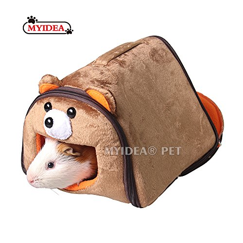 MYIDEA Hamster Guinea Pig Portable Bed – Small Animal Carrying Cage Supplies House Hideout for Rat/Hedgehog/Ferret/Chinchilla/Rabbit Small Animal Cartoon Bedding Hanging Hideout (Small, Bear)