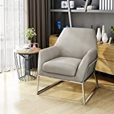 Zach Modern Beige Fabric Chair with Stainless Steel Frame