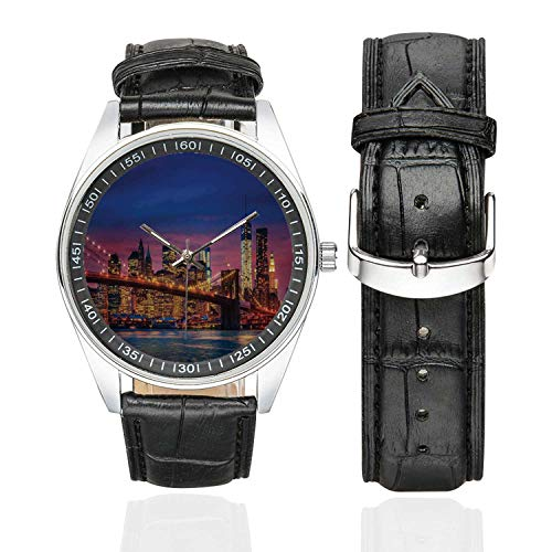 New York Casual Leather Strap Watch,NYC That Never Sleeps Image Neon Lights Reflections on East River City Image Print for Men,Case Diameter:1.57