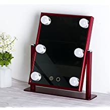 Professional Makeup Mirror with 6 LED Bulbs Vanity Mirror Battery / USB Charging Tabletop Lighted Mirror Touch Screen Adjustable Brightness Best Gift For Girls Friends (Red)